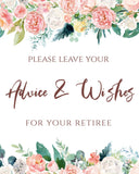 Peach Blush Advice and Wishes for Retiree Printable Template Retirement, PB - You Can Print