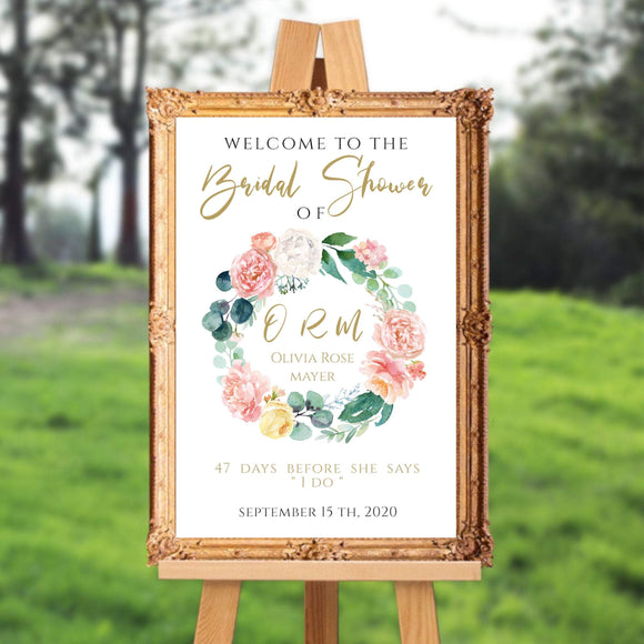 Peach Blush Bridal shower Welcome Sign Instant Download DIY Wedding PB - You Can Print