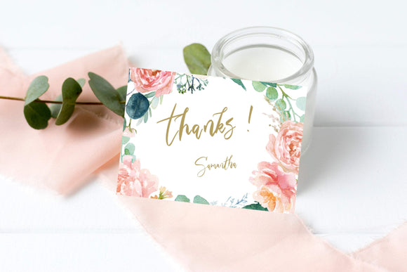 Peach Blush Thank You Card Template Printable Wedding Signs Party Signs, PB - You Can Print