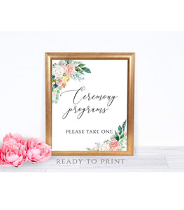 Peach Blush wedding sign digital Ceremony Programs Please Take One, PB - You Can Print
