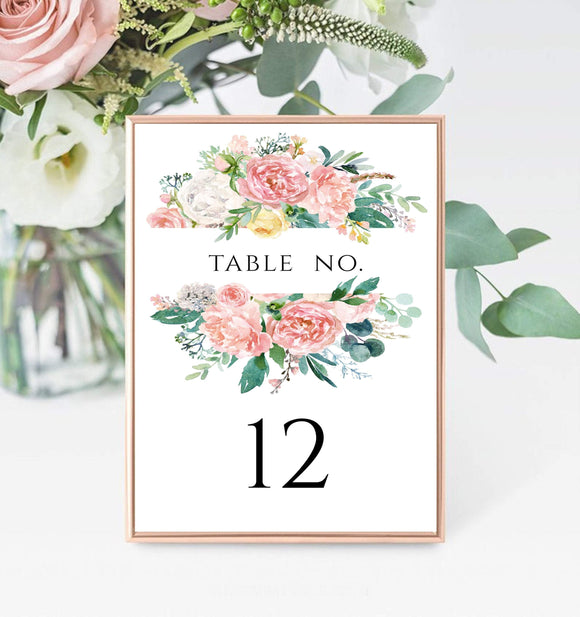 Peach Floral 12th Table Number Card Template,Printable Wedding Table  PB - You Can Print