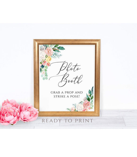 Photo Booth Sign Printable Wedding Photobooth Peach Blush photo, PB - You Can Print