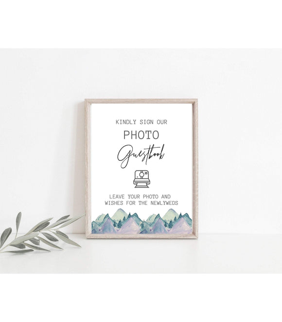 Photo Guest book Sign,Mountains Wedding Photo Guestbook Sign - You Can Print