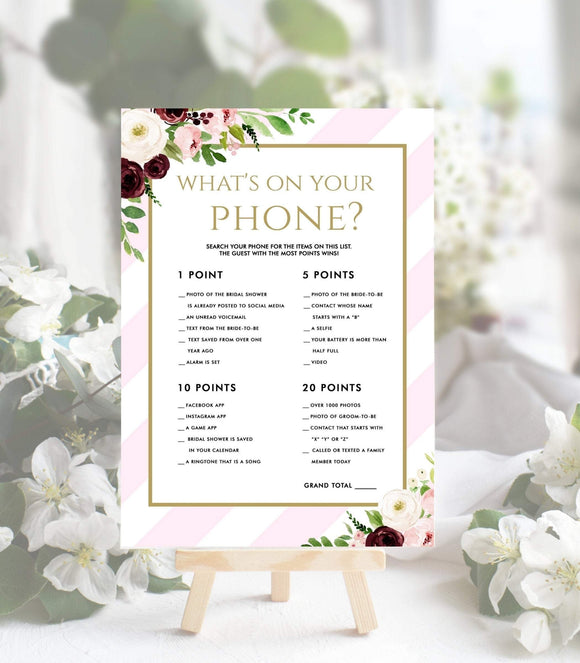 Pink What's On Your Phone printable Bridal Shower Game template Bridal PS, PG - You Can Print