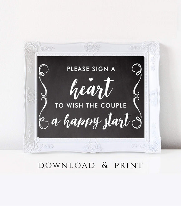 Please Sign a Heart wedding Sign Guest book a Heart Printable Wedding Guest CH - You Can Print