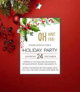 Printable Holiday Party Invitation ,Oh What Fun Christmas,Instant Download - You Can Print