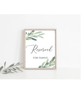Printable Reserved For Family Sign. Reserved For Family Printable. Reserved , VO - You Can Print