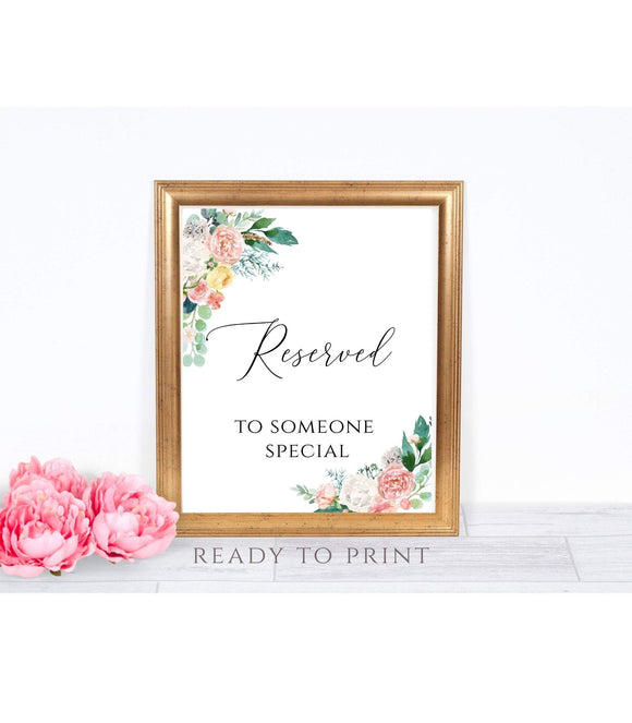 Printable Reserved Sign Instant Download Wedding party Reserved Sign DIY, PB - You Can Print