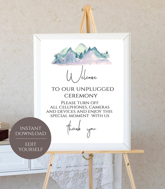 Printable Unplugged Sign Unplugged Ceremony Sign Evergreen Pine Tree - You Can Print