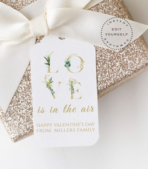 Printable Valentine Tags,Love Valentines Day Gift Tag,Greenery Valentine VD1 - You Can Print