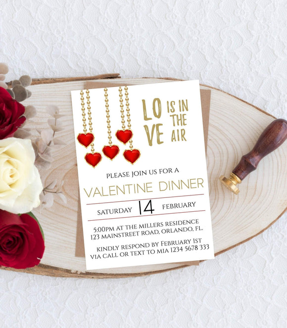 Printable Valentines Day Dinner Invitation,Love Is In The Air Valentine, VD1 - You Can Print