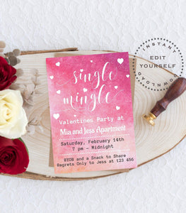 Printable Valentines Day Single Mingle Party Valentine's Sweet Valentine's VD1 - You Can Print