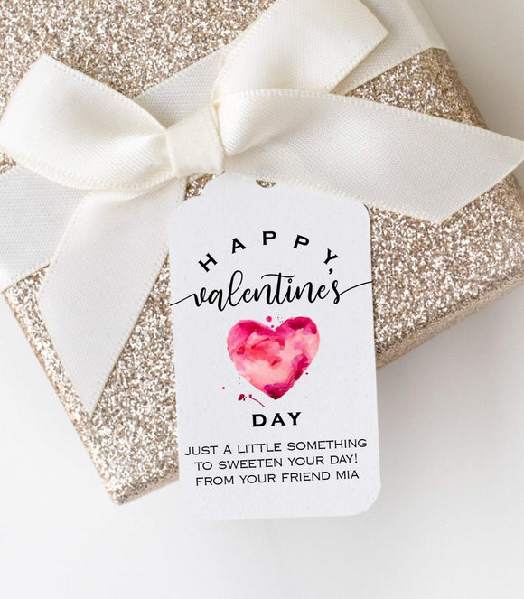 Printable Valentine's Day Tags, Quarrel Pink Heart, Editable Gift Favor Tag, VD1 - You Can Print