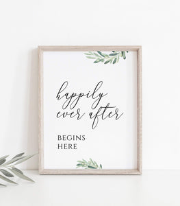 Printable Wedding Favor Sign,Greenery wedding sign Happily Ever After Begins VO - You Can Print