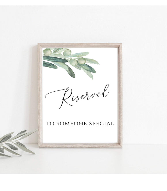 Reserved For Someone Special  Instant Download Printable Wedding Sign DIY, VO - You Can Print