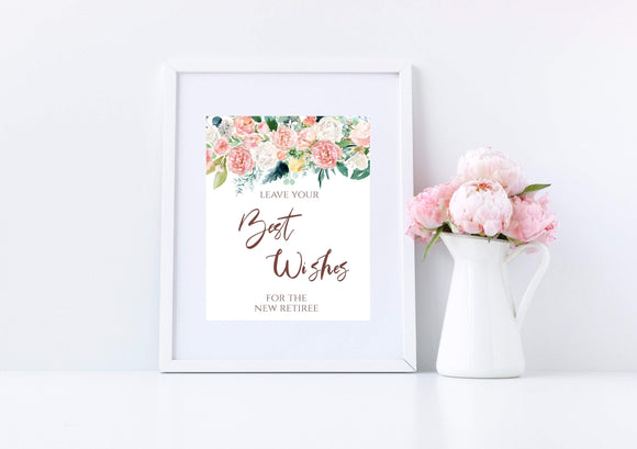 Retirement party best wishes sign,Peach Blush Best Wishes for Retiree, PB - You Can Print