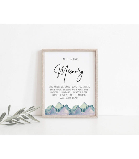 Rustic Mountains In Loving Memory Sign Template Printable In Loving - You Can Print
