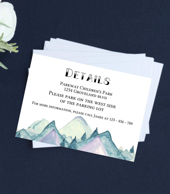 Rustic Wedding Details Template Mountain Pine Details Card Editable - You Can Print