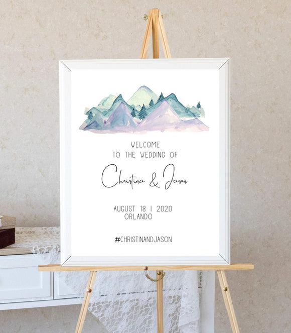 Rustic Welcome Wedding Poster Template, Mountain Pine Welcome - You Can Print
