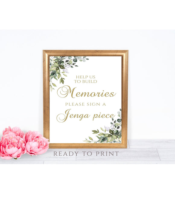 SALE.Build Memories Jenga Piece Sign,Jenga Sign,Jenga Guest Book Sign, G1 - You Can Print