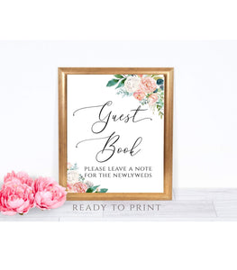 SALE Guest Book Sign, Guestbook Sign, Floral Guest Book Sign, PB - You Can Print