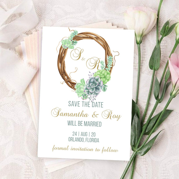 Save the Date Template, Printable Wedding Date Card, Succulent Greenery - You Can Print