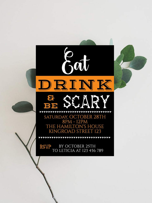 Spooky Vintage Halloween Party Invitation, Costume Party Halloween Invitation - You Can Print