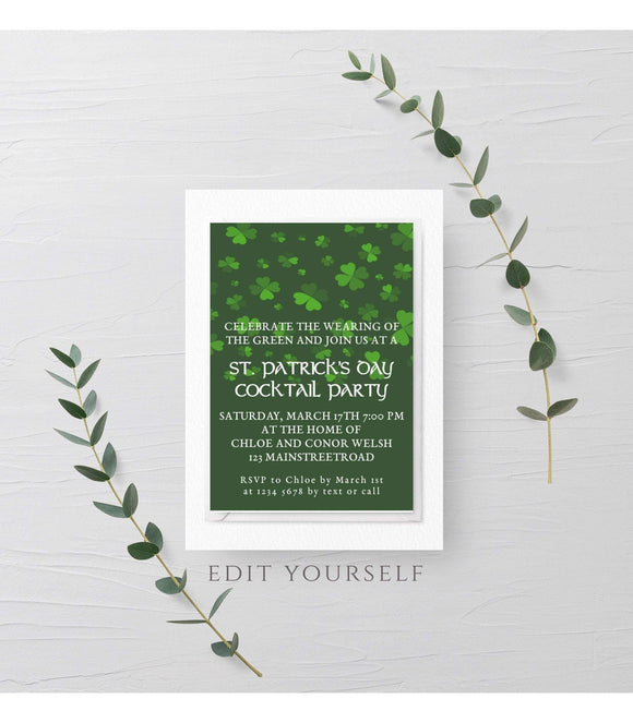 St. Patrick's Day Invitation,Saint Patrick's Day Editable Template, St. Patrick's - You Can Print