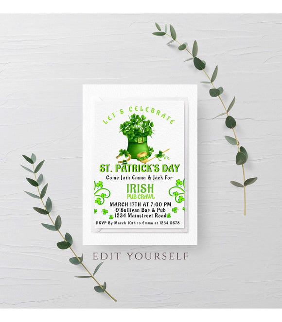 St Patricks Day Party Invitation Template Shamrock Invitation - You Can Print