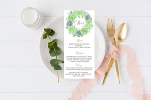 Succulent Retirement Bar Menu Template, Printable Dinner Menu Cards - You Can Print