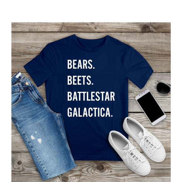 T- Shirt Bears Beets Battlestar Galactica Unisex Shirt Tv Show Office Tee - You Can Print