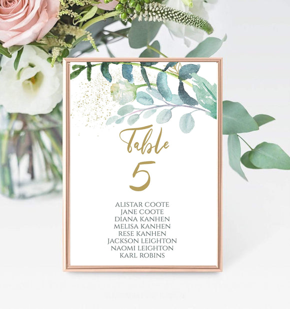 Table Number Template,Printable Table Numbers,Greenery Wedding Table Card, GG - You Can Print