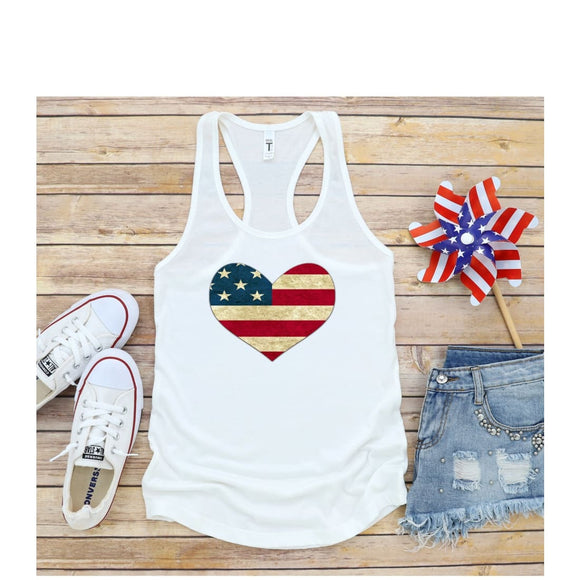 Tank Top Patriotic Heart 4th of July Tank Independence Day Shirt - You Can Print