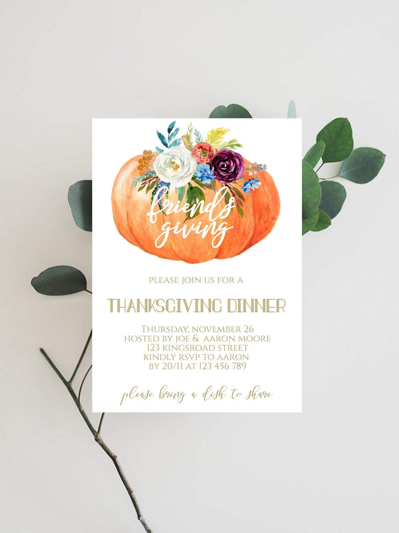 Thanksgiving Dinner Invitation Editable INSTANT DOWNLOAD White Gold - You Can Print