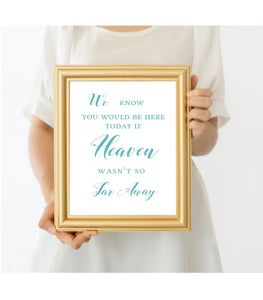 Turquoise In Loving Memory Template Printable In Loving Memory sign 2, T1 - You Can Print
