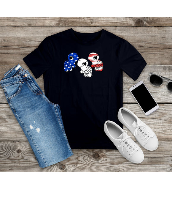 T-shirt Funny Patriotic Turtles US Flag Independence Day Shirt 4th of July Tee Unisex S - 4XL - You Can Print