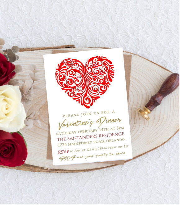 Valentine Dinner Invitation Editable Valentine Party Invitation Template VD1 - You Can Print