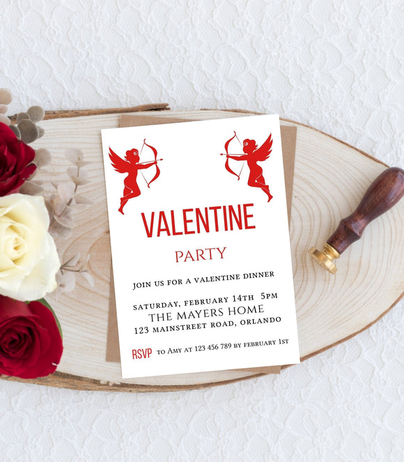 Valentine Dinner,Valentine's day Invitation Angel Galentine Party, VD1 - You Can Print