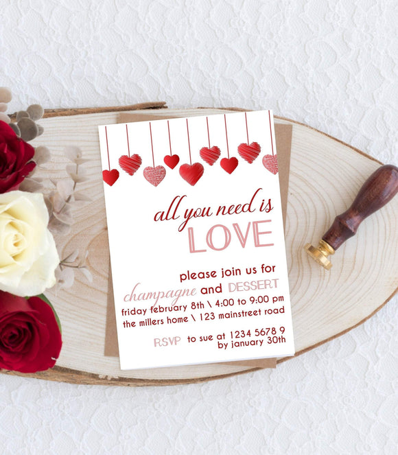 Valentine Party Invitation|Instant Download Galentine Party Invitation VD1 - You Can Print