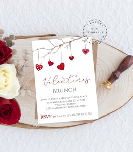 Valentine's Brunch Invitation, Editable Valentine Invitation Template - You Can Print