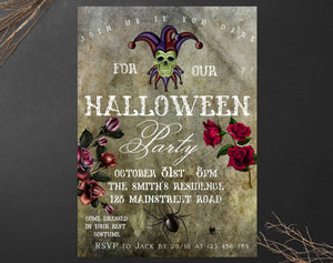 Vintage Halloween Party Invitation,INSTANT DOWNLOAD,Gothic Halloween Invitation,Halloween scary invite,Joker Halloween invite,all saints day - You Can Print