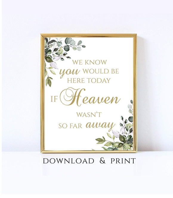 We Know you Would be Here Today if Heaven wasn't so Far Away printable Memorial Table Sign Remembrance Poster Instant Download 8x10 - You Can Print