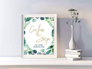 Wedding Custom Sign Printable, Greenery Editable Sign Template, Editable Wedding Signs Template, Greenery Wedding Sign Watercolor - You Can Print