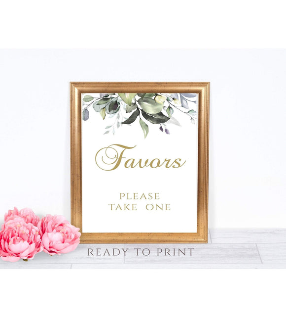 Wedding Favor Sign Template, Greenery Gold Calligraphy Favors Sign, Wedding Party, Instant Download, Printable PDF:5x7' ,8x10'' 5x7'' G1 - You Can Print