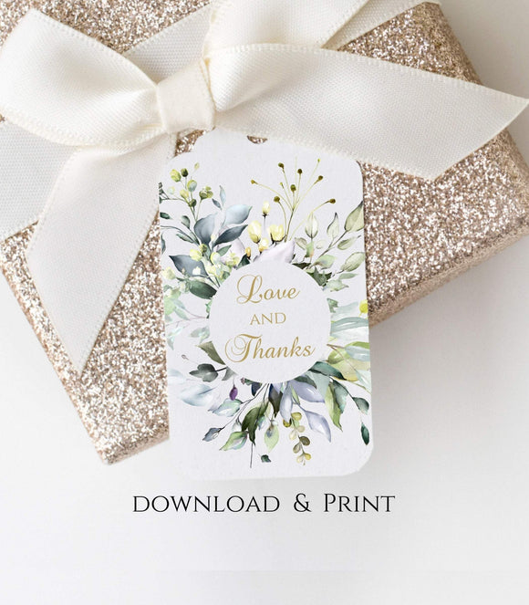Wedding Favor Tag Thank You TagGift Tag with Watercolor Greenery, Love and Thanks Tag, Instant Download, Printable, PDF 2x3, G1 - You Can Print