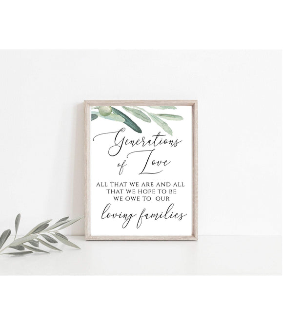 Wedding Generations of Love Sign All That We Are And All That We Hope To Be We Owe To Our Loving Families Sign Greenery DIY 8x10 PDF VO - You Can Print
