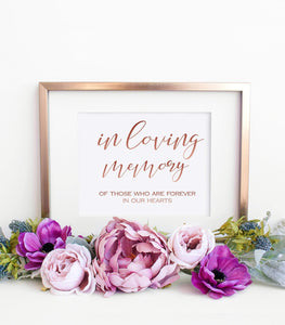 Wedding In Loving Memory printable Wedding Memorial Printable In Memory Template Instant Download for someone special wedding reserved, SHR - You Can Print
