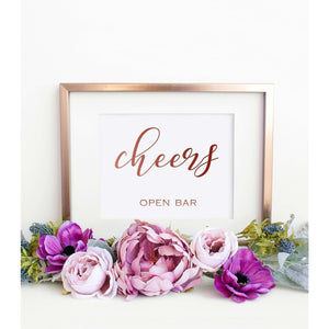 Wedding Open Bar Sign Printable,Gold Calligraphy Sign Template DIY Party Signs Template, SHR - You Can Print