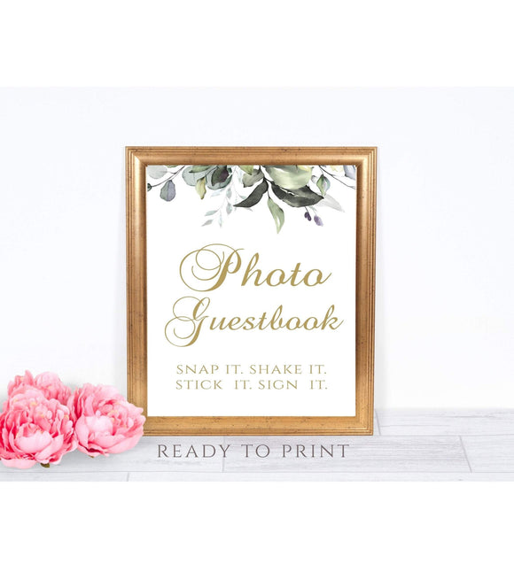 Wedding Photo Guestbook Printable Wedding Reception Sign party Ceremony Sign Instant download Photo Wedding Guestbook Faux Gold Design G1 - You Can Print