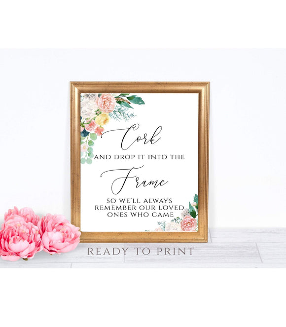 Wedding Please Sign a Cork Sign, Floral Guest Book Printable Sign, Wine Theme Guest Book, Instant Download, Printable PDF, JPG 8x10, PB - You Can Print